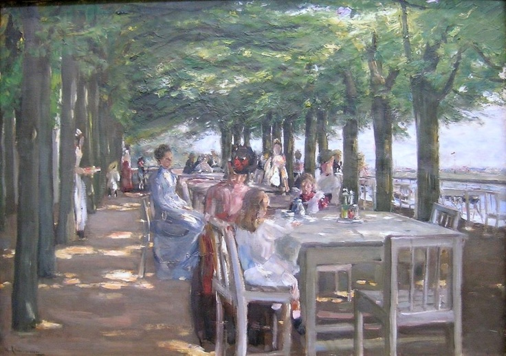 Max Liebermann (German, Impressionism, 1847-1935): The Terrace at the Restaurant Jacob in Nienstedten on the Elbe, 1902. Oil on canvas, 100 x 70 cm. Hamburger Kunsthalle, Hamburg, Germany.