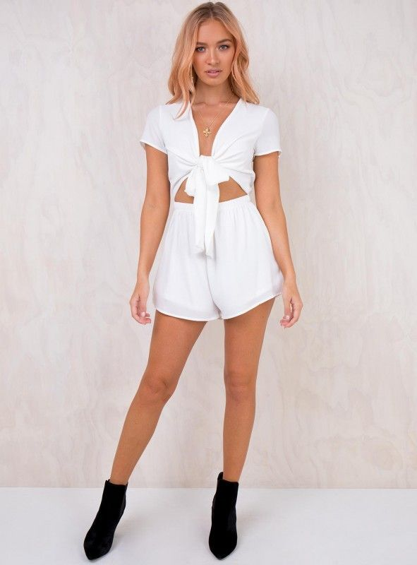 b460683321 Sweet Sahara Tie Front Playsuit White