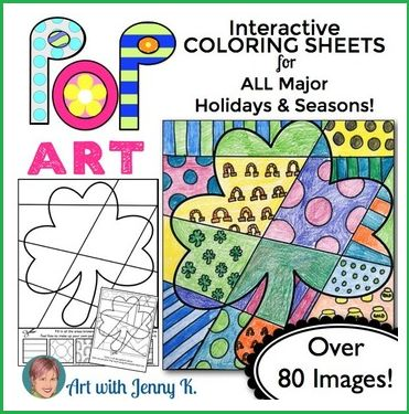 "Celebrate a Pop Art St Patrick's Day this year! This big collection of ""Pop Art"" interactive coloring sheets are more than ""just coloring."" Included are designs for all holidays and seasons!"