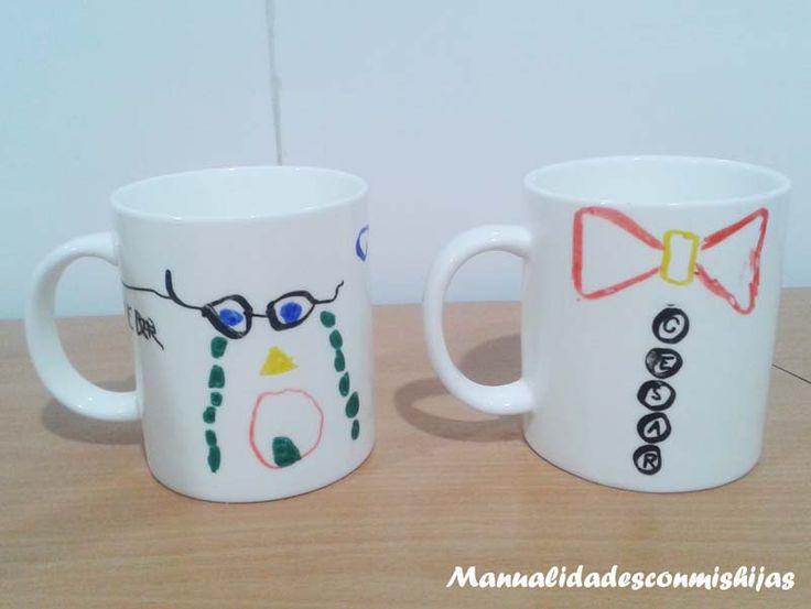 Tazas pintadas de cerámica para el Día del padre