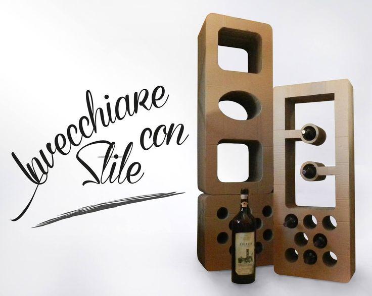 Cardboard wine bottle rack.