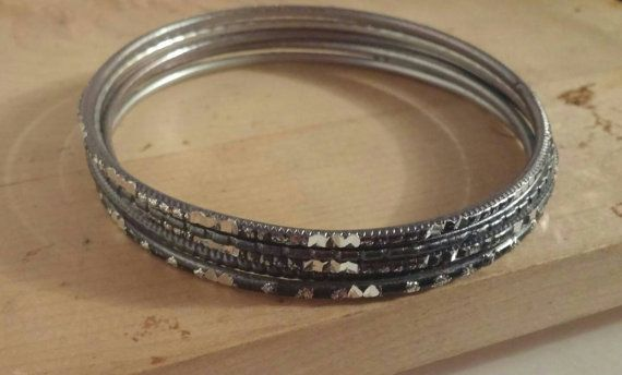 Check out this item in my Etsy shop https://www.etsy.com/ca/listing/497742079/bangle-set-titanium-grey