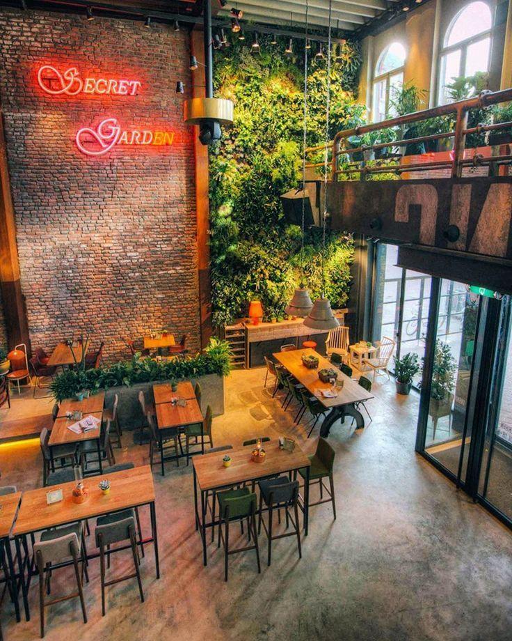 Pin By Caffe Bar Moving On Vertical Garden Indoor In 2020 Bistro Design Modern Restaurant Design Bar Design Restaurant