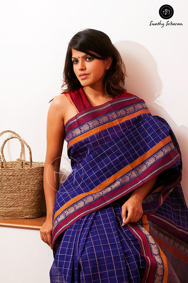 Deep Blue Saree with Red and Orange Border