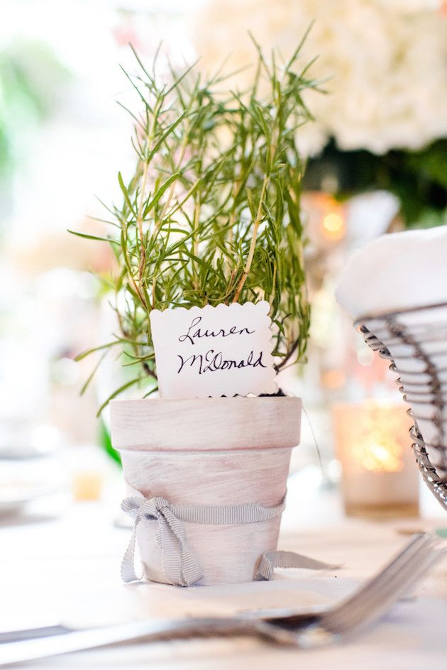 Thank your spring wedding guests by giving them fresh herbs as a favor.
