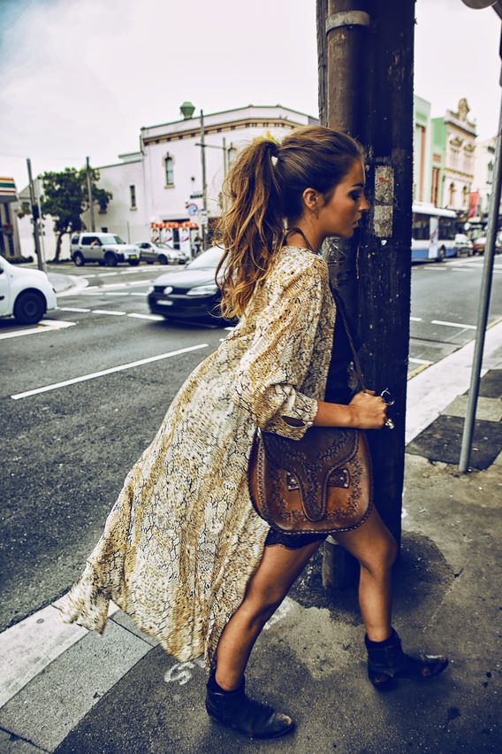 long cardigan ...leather bag ...bohemian ...light weight