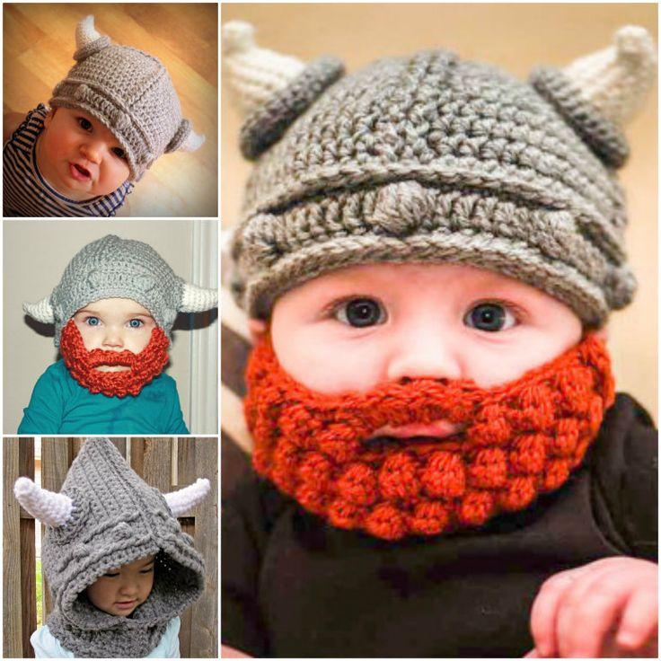 Crochet Viking Hats & Beard. cute Halloween costume idea