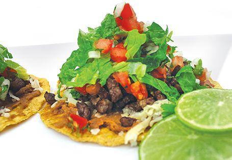 Makeover taco night: Carne Asada Tostada served with fresh pico de gallo