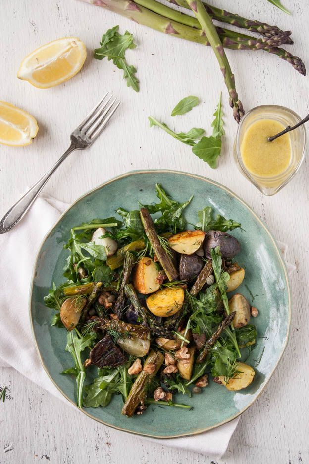 Roasted Asparagus New Potato Salad with Lemon-Caper Dressing. Gluten ...