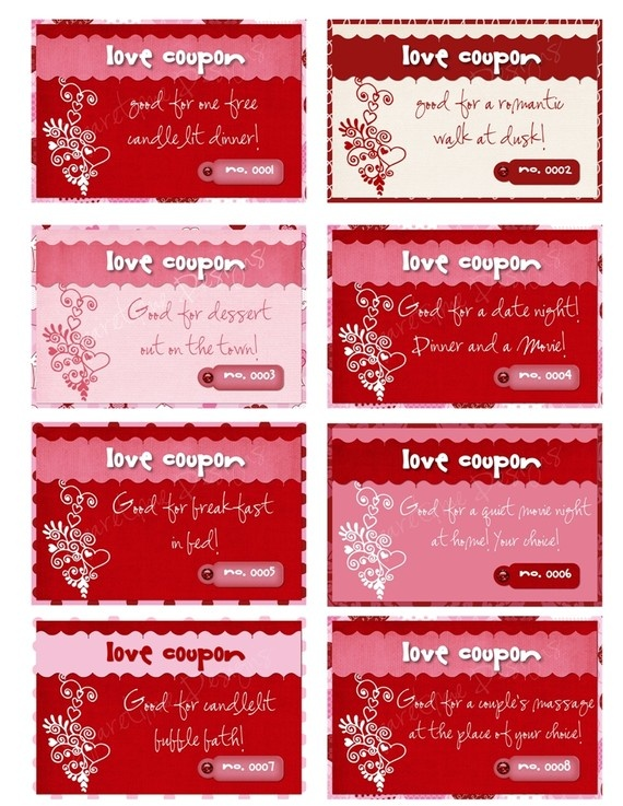 Printable Personalized LOVE Coupons By SparetimePrints On