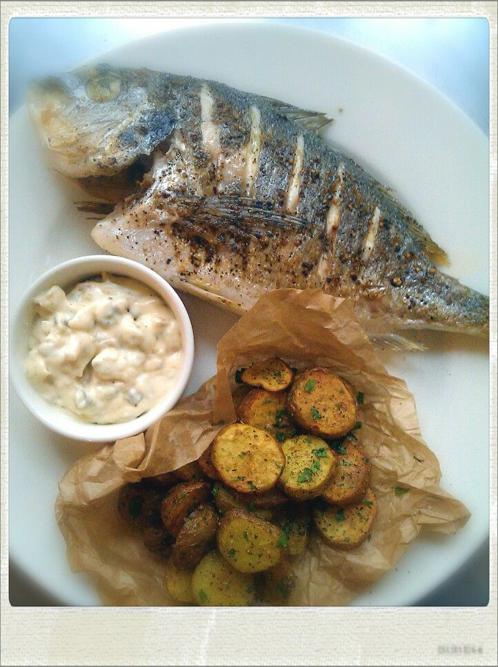 Sea Bream, baby herbed chips, tartar sauce made of fresh eggs and olive oil.
