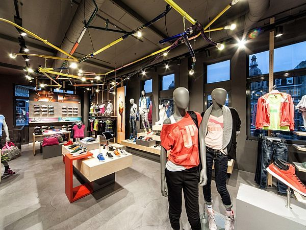Love the dynamic ceiling in this Puma shop design in Amsterdam