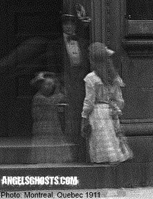 1911 Montreal, Quebec timed photograph using lengthened exposure to create the three ghost ladies.