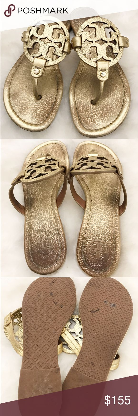 Tory Burch Miller Pebbled Leather Logo Sandals 9.5 These are a pair of Tory Burch gold pebbled leather logo sandals! Size 9.5 😃 Tory Burch Shoes Sandals