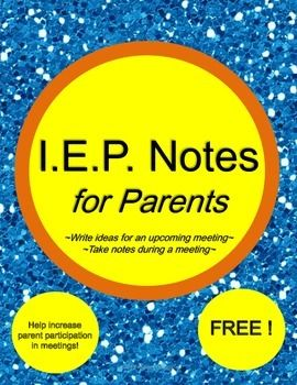 #freebie #iep These note pages make it easier to help parents to be part of the IEP process. Four types of note taking handouts are provided. They help parents or teachers to write ideas for an upcoming meeting and/or take notes during a meeting. #free Pinned by Autism Classroom