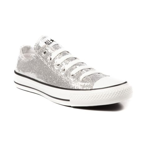 Daughter's shoe choice for GRAD -  Converse All Star Lo Glitter Athletic Shoe in Silver.The original Old School athletic shoe is still cool.