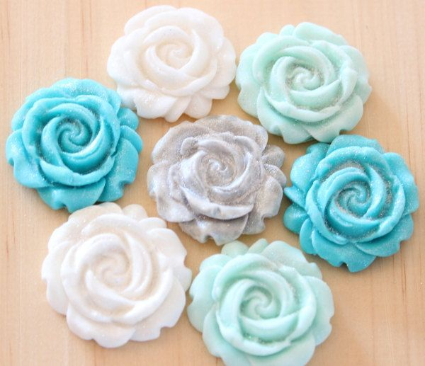 24 Fondant blue and silver rose cupcake toppers-vintage, frozen party, winter weddings, cupcake toppers, fondant roses, party favors, edible by TheVintageVanilla on Etsy
