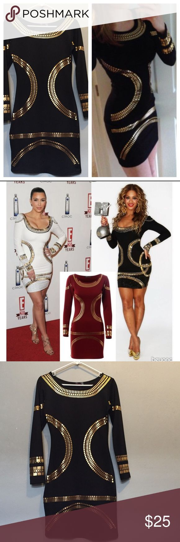 Black and Gold bodycon dress. Celebrity inspired. NWT size small. Dresses