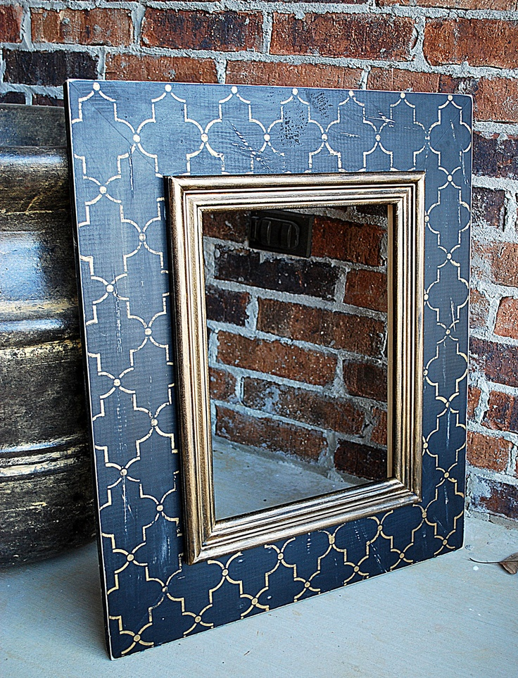 "Custom Vintage Black and Gold Moroccan Lattice Pattern, 12x16 (24"" x 28"" total size frame). via Etsy."