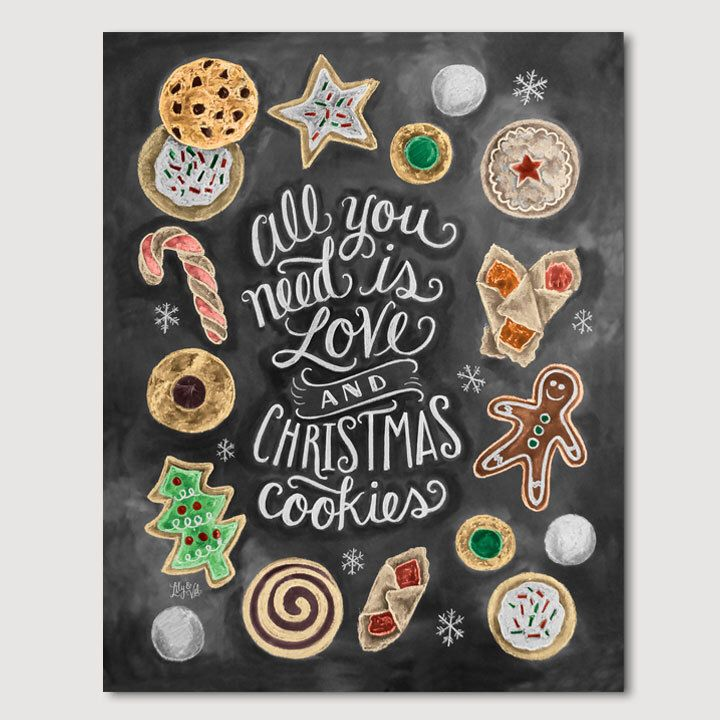 Christmas Cookie Print - Christmas Cookie Party Decor - Chalkboard Art - Illustration by Valerie McKeehan von LilyandVal auf Etsy https://www.etsy.com/de/listing/212075119/christmas-cookie-print-christmas-cookie