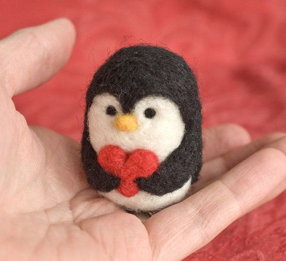 Needle Felted Penguin Valentine Heart by scratchcraft on Etsy
