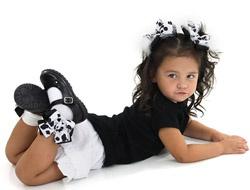#Cow Print Black & White Marabou Girls Hair Bows