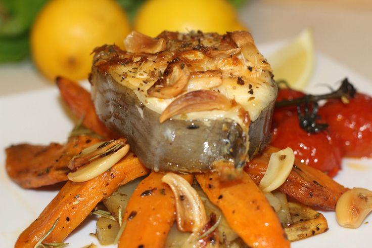 Anghila la cuptor cu garnitura de cartofi dulci | Retete cu peste - Adyg...