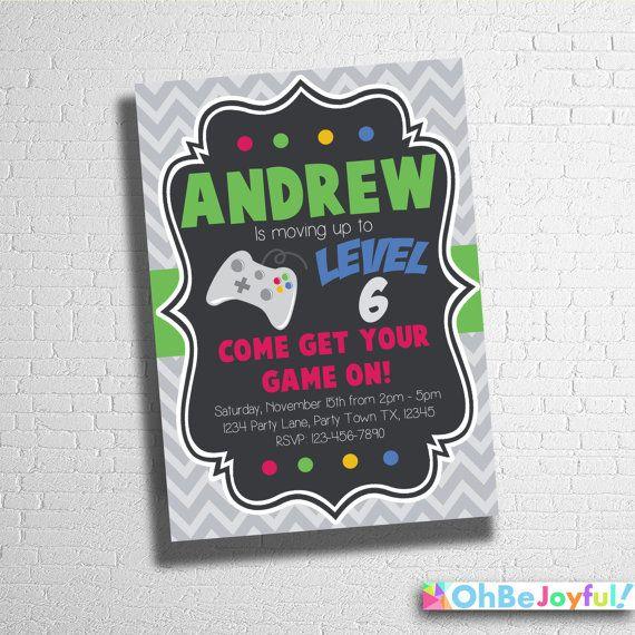 Video Game Birthday InvitationCustom video game by ohbejoyfulshop