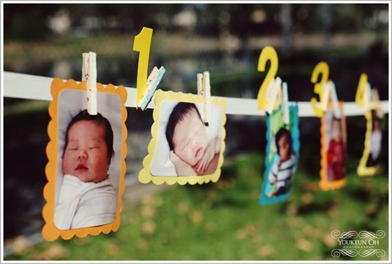 Cute idea for your babys first birthday. Line up of 1-12 month pictures so guest can see how your baby grew. Even have your 1st & last ultrasound infront the 1 month pic