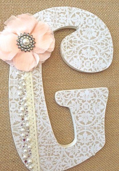 Custom Wooden Nursery Letters Baby Girl Nursery by TheRuggedPearl, $16.75
