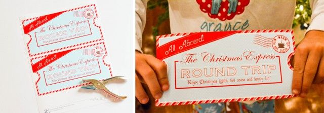 FREE PRINTABLE Christmas Express Ticket - Put under your kids' covers to surprise them with a fun night of christmas light looking and holiday tradition!