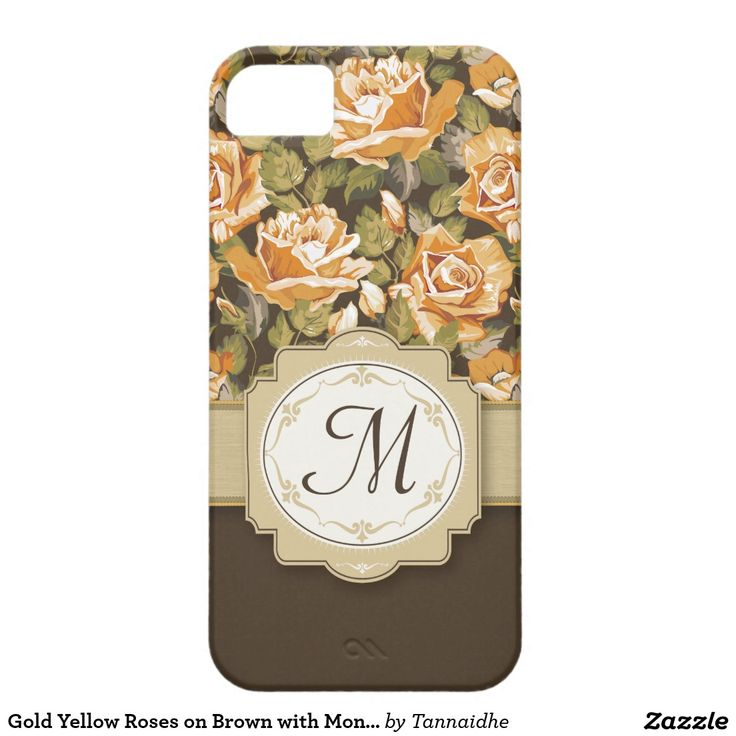 Gold Yellow Roses on Brown with Monogram iPhone SE/5/5s Case