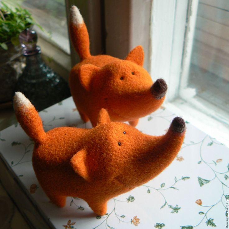 Купить лис - рыжий, оранжевый, яркий, подарок, игрушка, фигурка, лис, лиса, Лисы, лисичка