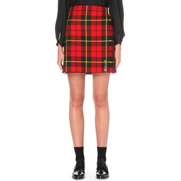 LE KILT Classic tartan wool skirt (€470) ❤ liked on Polyvore featuring skirts, wallace red, plaid wrap skirt, red high waisted skirt, red wrap skirt, high-waist skirt and wrap skirt