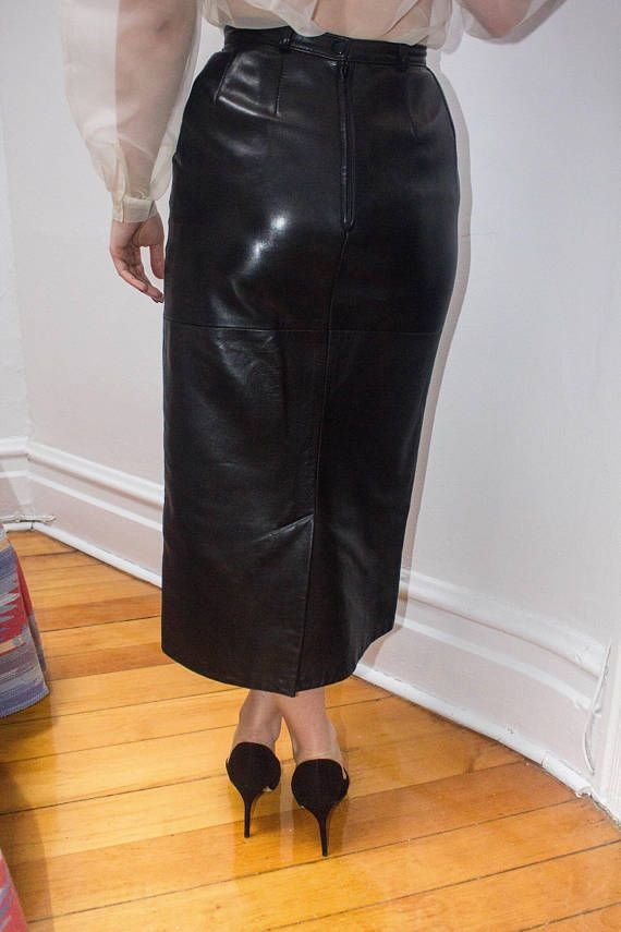 Sexy Genuine Leather Pencil Fitted Skirt Long Below The Knee Panels Tight High Waist Vintage 80s