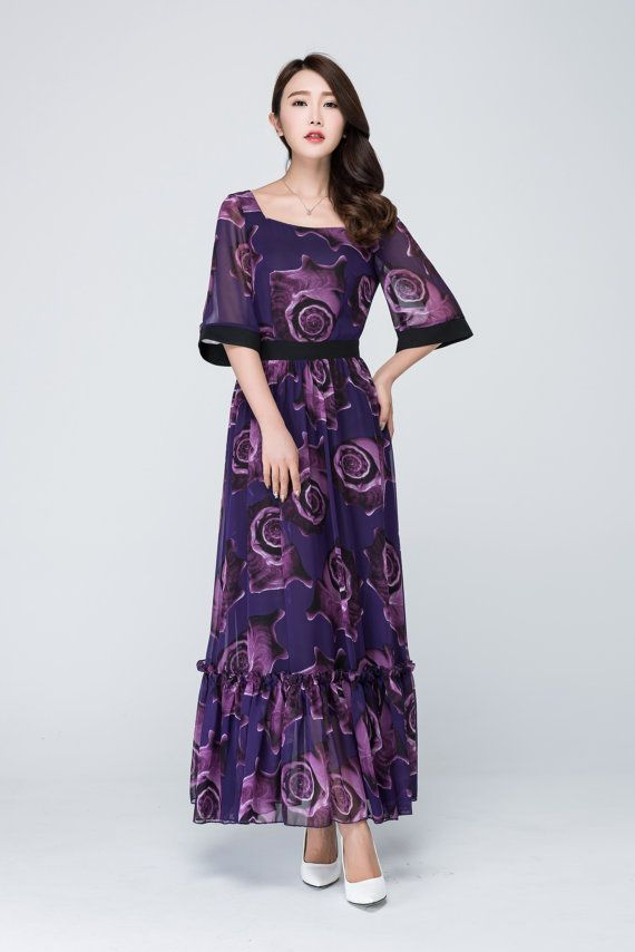 Purple dress floral dress  print dress chiffon dressprom