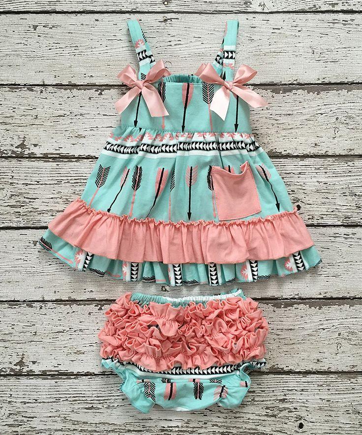 Chicaboo Mint Arrow Dress & Ruffle Bloomers - Infant & Kids