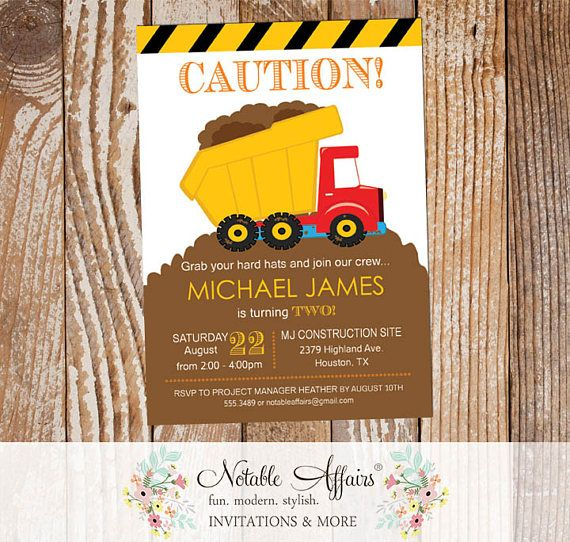 Dirt Dump Truck Bulldozer Yellow Black White Construction Birthday Party Invitation - Construction Party Invitation - choose your wording by NotableAffairs