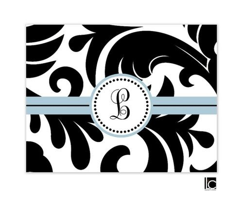Large black and white damask monogram folded note by Lauren Chow Designs