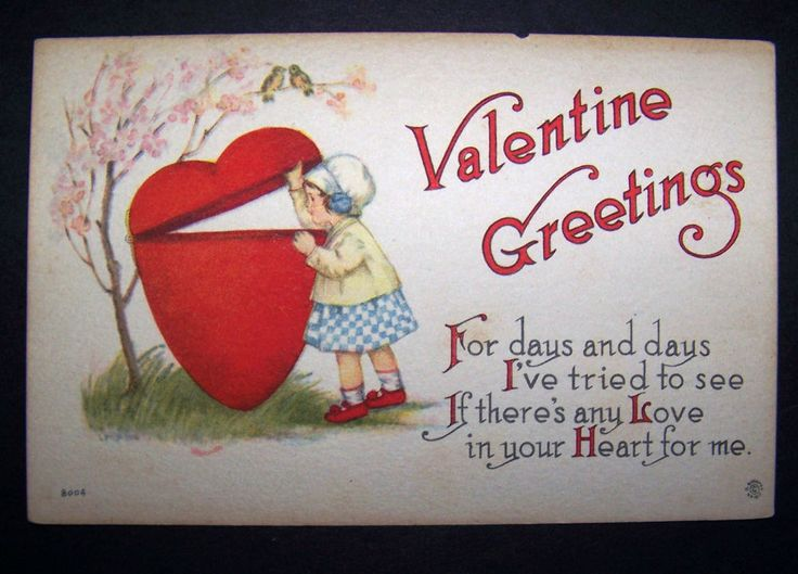 1914 Valentine Greetings Postcard Little Girl Looking In Heart Valentine  Saying