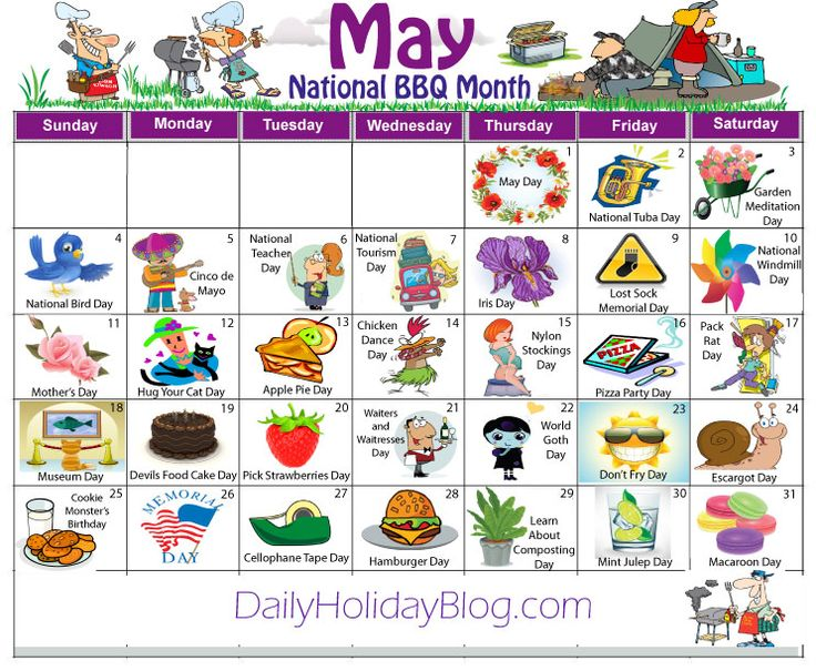 may daily holidays calendar