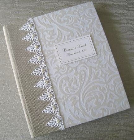 Wedding Photo Album with beaded White Lace Customized by Daisyblu, $75.00