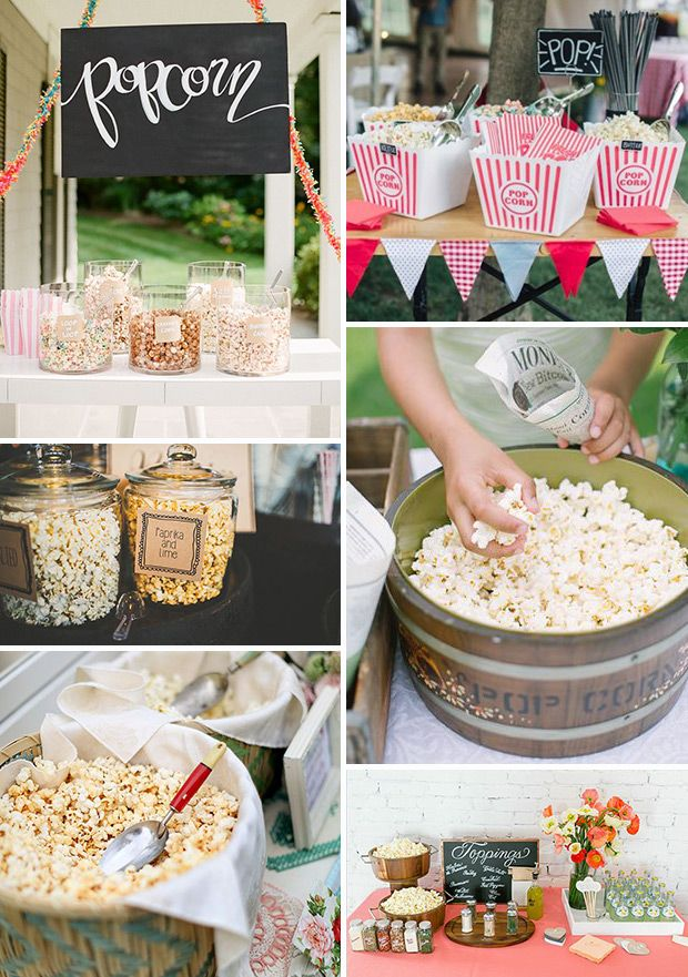 Wedding Popcorn Bar Inspiration | www.onefabday.com