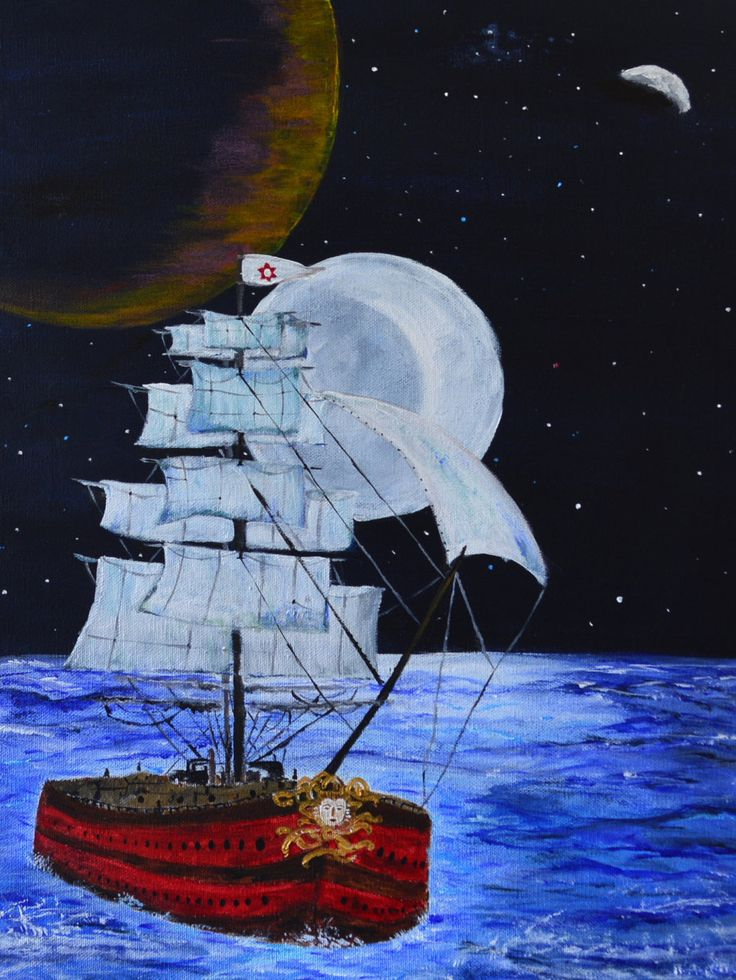 Seascape,  Ship painting with Fantasy Nightsky and three moons, for Pirate fans, Original Acrylic Painting by MeghasPalette on Etsy