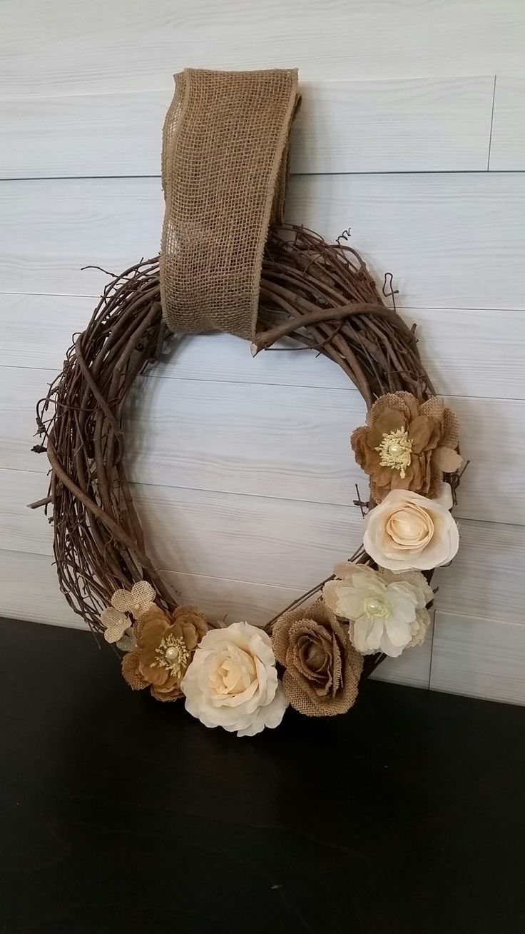 Grapevine Wreath with Flowers #grapevine #wreath #flowers #goldenforrest #goldenforrestcreations