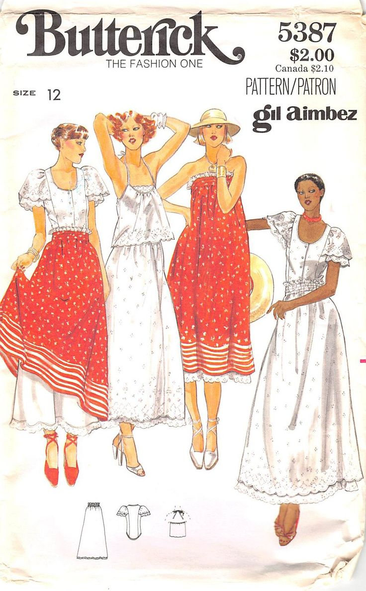 BUTTERICK 5387 - FROM 1970'S - UNCUT - MISSES TOP, BLOUSE AND SKIRT