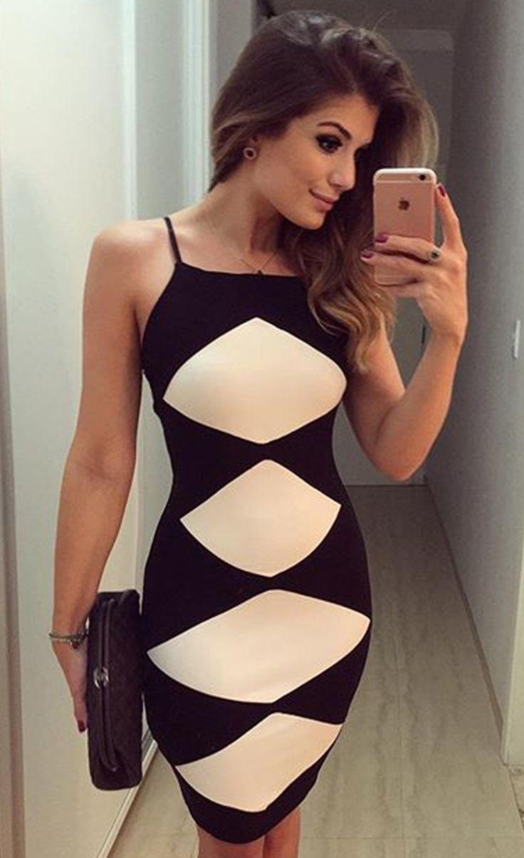 $28.99 White Diamond Patchwork Black Cami Dress