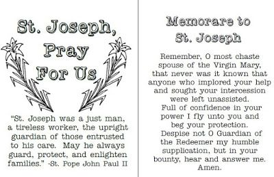 Look to Him and be Radiant: St. Joseph Memorare Prayer Cards (and more ideas f...