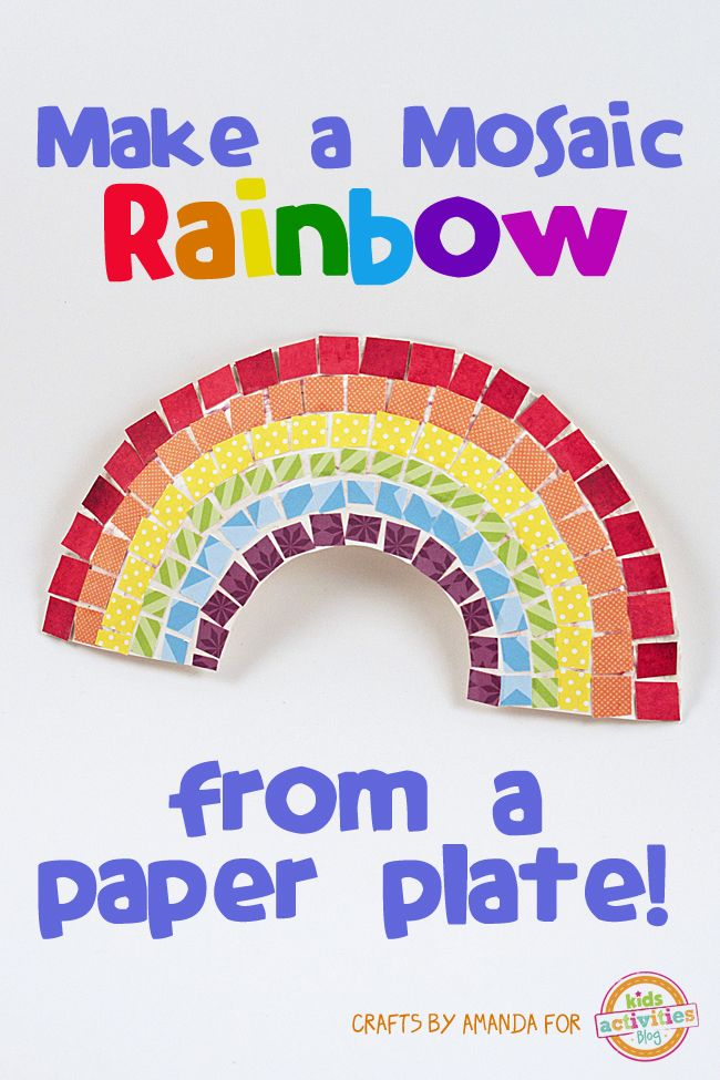 Mosaic Rainbow Craft from a Paper Plate - Such a beautiful craft for preschoolers and anyone at home on a rainy day! Click now!
