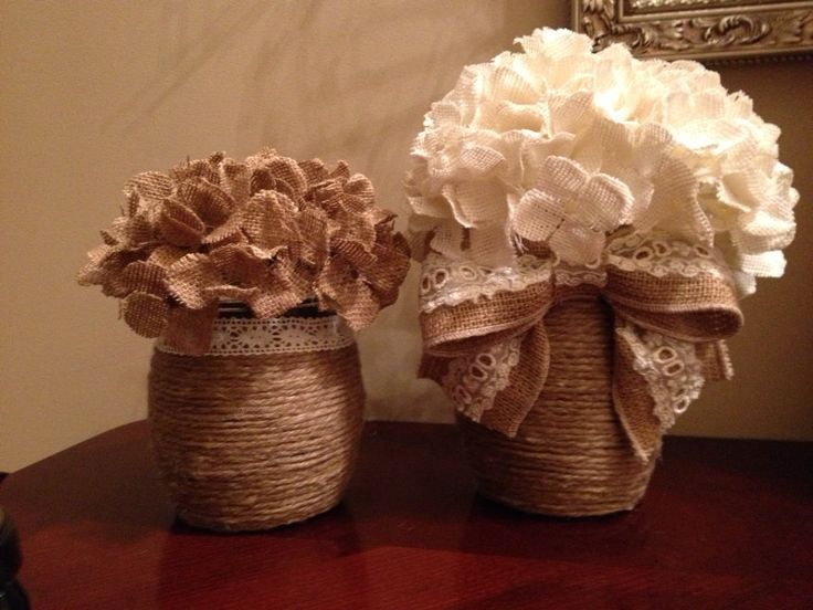 wedding rustic decorations twine wrapped jars with burlap amp lace bow and burlap 1093
